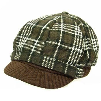 Wool Square Plaid  Ribbed Knit Newsboy Cap Hat Brown