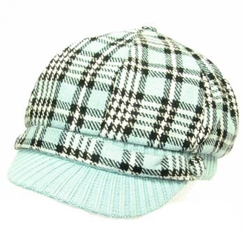 Wool Square Plaid  Ribbed Knit Newsboy Cap Hat Blue