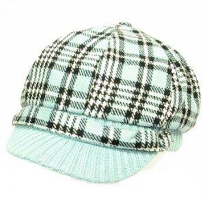 Wool Square Plaid  Ribbed Knit Newsboy Cap Hat Blue