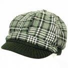 Wool Square Plaid  Ribbed Knit Newsboy Cap Hat Black