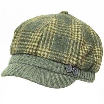 Wool Plaid  Ribbed Knit Newsboy Cabbie Cap Hat Charcoal