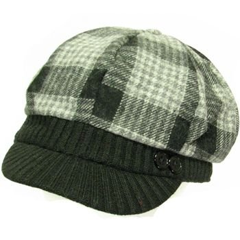 Wool Plaid  Ribbed Knit Newsboy Cabbie Cap Hat Black