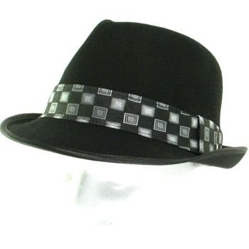 100% WOOL POLISHED FELT CHECK FEDORA TRILBY HAT BLACK M
