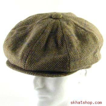 NWT WOOL HERRINGBONE NEWSBOY GATSBY CAP HAT BROWN L/XL