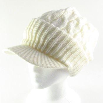 NEW CHUNKY CABLE KNIT SKULL NEWSBOY CABBY HAT CAP IVORY