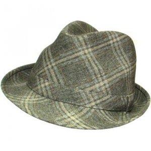 Classic Plaid Fedora Trilby Gangster Mob Hat Brown M/L