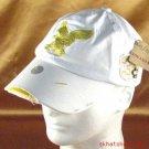 FRAYED DISTRESSED SPITFIRE EAGLE WHITE GOLD HAT CAP ADJ