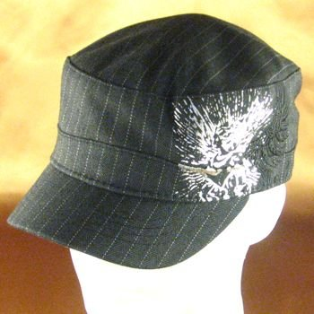 PINSTRIPE CADET MILITARY EMB FITTED HAT CAP CHARCOAL L