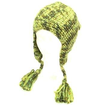 Wool Handknit Trooper Trapper Ski Knit Hat Multi Olive