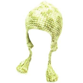 Wool Handknit Trooper Trapper Ski Knit Hat Multi Ivory