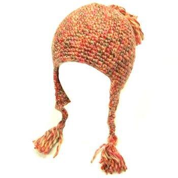Wool Handknit Trooper Trapper Winter Knit Hat Multi-red