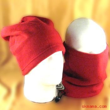 2 IN 1 SKI SKATE POLAR FLEECE NECK HEAD  WRAP HAT * RED