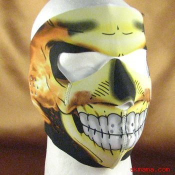 FLAME SKULL NEOPRENE FULL FACE MASK NOSE MOUTH VENT SKI