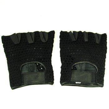Men's Leather Mesh Velcro Fingerless Padded Gloves M