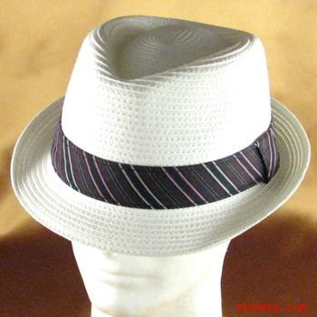 STRIPE BAND STINGY BRIM BRAID FEDORA TRILBY HAT WHITE M