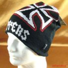 Black n Red KNIT CHOPPER BEANIE SKULL BIKER CAP HAT M/L