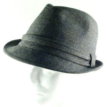 TWEED PLAID STINGY FEDORA TRILBY BELT HAT CHARCOAL M/L