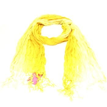 LIGHT CRINKLE BRAID LONG SCARF WRAP SHAWL 70x25 YELLOW