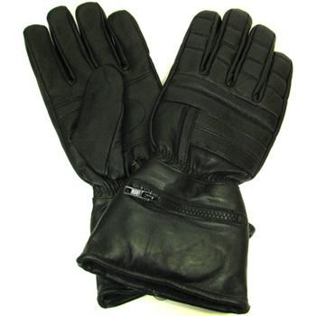 Ladies Gauntlet Leather Biker Gloves w Rain cover XL