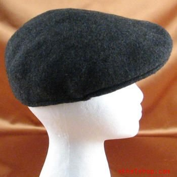CHARCOAL WOOL KNIT IVY DRIVER CAP HAT w/ EAR FLAPS  S/M