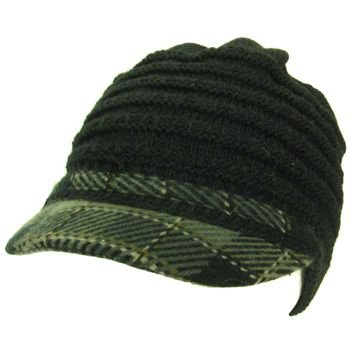 Soft plaid cable light knit beanie visor cap hat Brown