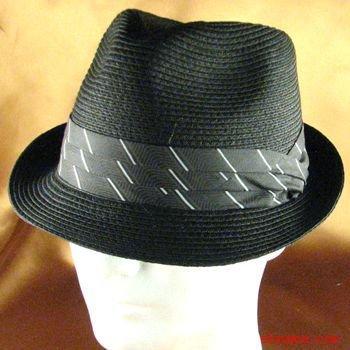 BRAID 3 PLEAT BAND STINGY FEDORA TRILBY HAT BLACK M/L