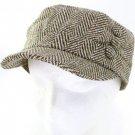 WOOL HERRINGBONE 3 BUTTON CADET CABBIE CAP HAT BROWN