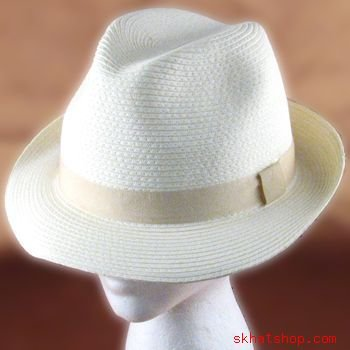 BRAID FEDORA TRILBY GANGSTER CRUSHABLE BAND HAT IVORY L