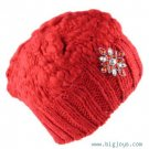 NEW HAND KNIT BEANNIE SKULL HAT BROOCH PIN CRYSTAL RED
