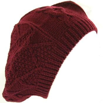 CROCHET BERET TAM CABLE KNIT SLOUCHY JR HAT BURGUNDY