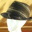HIP STRIPED TIED METALLIC STINGY BRIM FEDORA HAT BROWN