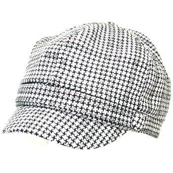 TWEED PLAID NEWSBOY CABBIE DRIVER GATSBY CAP HAT BLACK