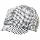 TWEED PLAID NEWSBOY CABBIE DRIVER GATSBY CAP HAT BLACK
