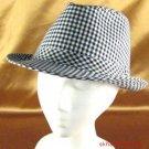 NEW COTTON PICNIC CHECK PLAID FEDORA TRILBY HAT BLACK