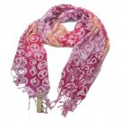 Peace Sign Summer Light Scarf Shawl Wrap Tricolor Pink