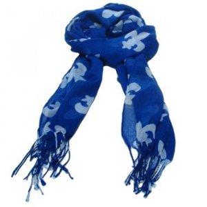 Fluer de Lis Print Summer Light Scarf Shawl Wrap Blue