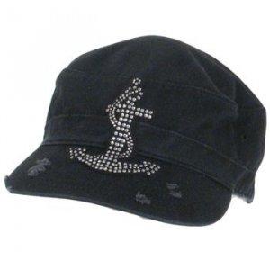 Sailer Anchor Crystal Frayed Cadet Castro Hat Cap Black