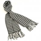Men's Winter Cashmere Feel Scarf Mid Houndstooth Black