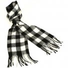 Men's Winter Cashmere Feel Scarf Buffalo Plaid Black