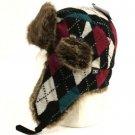 Faux Fur Argyle Plaid Trooper Trapper Ski Hat Blk Teal