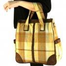Tartan Plaid Large Big Handbag Tote Shoulder Bag Beige