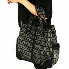 Plaid Large Handbag Tote Shoulder Body Bag Zipper Black