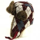 Faux Fur Argyle Plaid Trooper Trapper Ski Hat Wine Teal