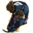 Faux Fur Argyle Plaid Trooper Trapper Ski Hat Navy Teal