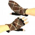 Winter Wool Plaid Flip Top Fingerless Snug Gloves Brown