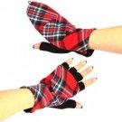 Winter Wool Plaid Flip Top Fingerless Snug Gloves Red