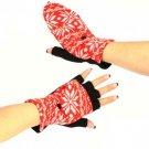 Winter Wool SnowFlake Flip Fingerless Snug Gloves Red
