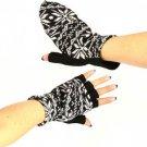 Winter Wool SnowFlake Flip Fingerless Snug Gloves Black