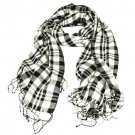 SOFT STRIPE PLAID LONG SCARF WRAP SHAWL 70X26 BLACK