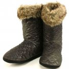 Winter Faux Fur Quilt Indoor Boots Slippers Black S 5-6